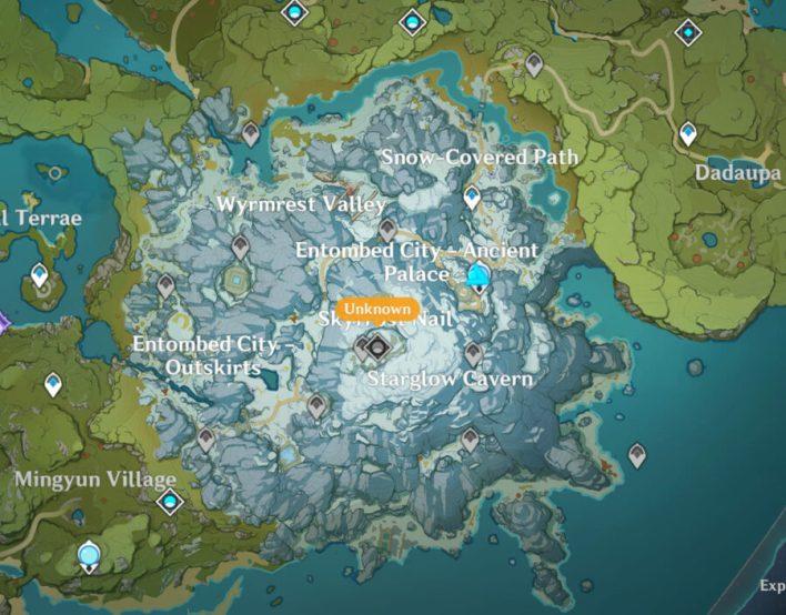 Просочившаяся фотография новой области под названием Dragonspine в Genshin Impact.