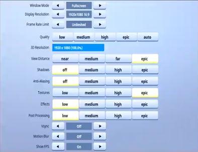 Tfue Fortnite Video Settings