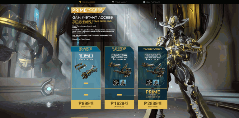 Latest Prime Access Warframe Bundle