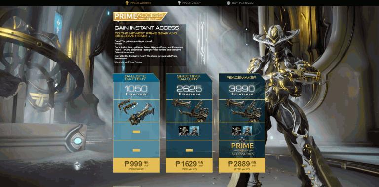 Latest Prime Access Warframe Bundle