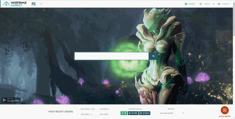 Warframe Market Auction Site