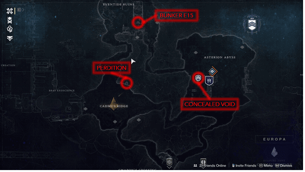 Europa Lost Sectors Map