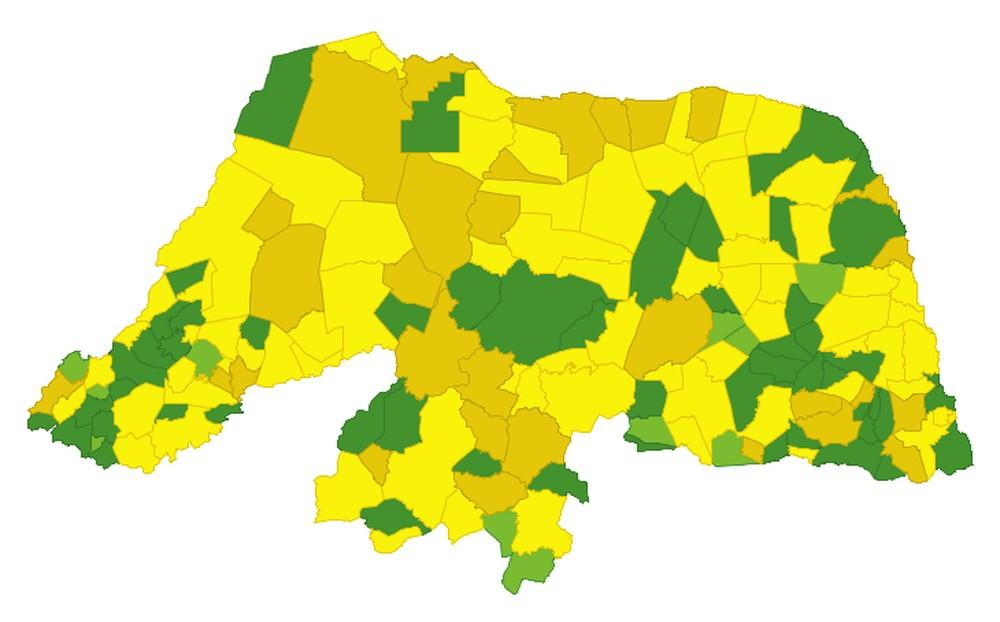 Situação da pandemia no Rio Grande do Norte: maior parte dos municípios está em nível de alerta amarelo. — Foto: Sesap/Divulgação