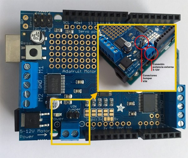 Pines potencia Adafruit Motor Shield