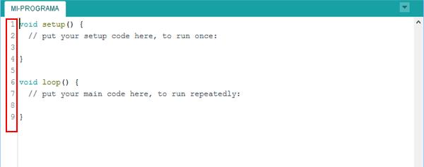 Número lineas IDE Arduino