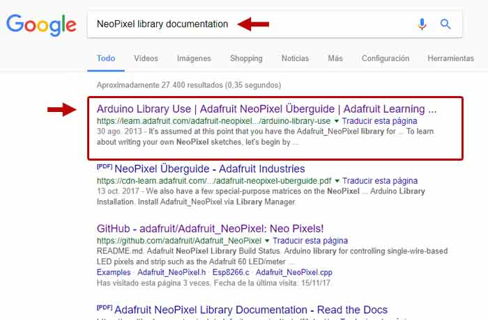 documentación neopixel