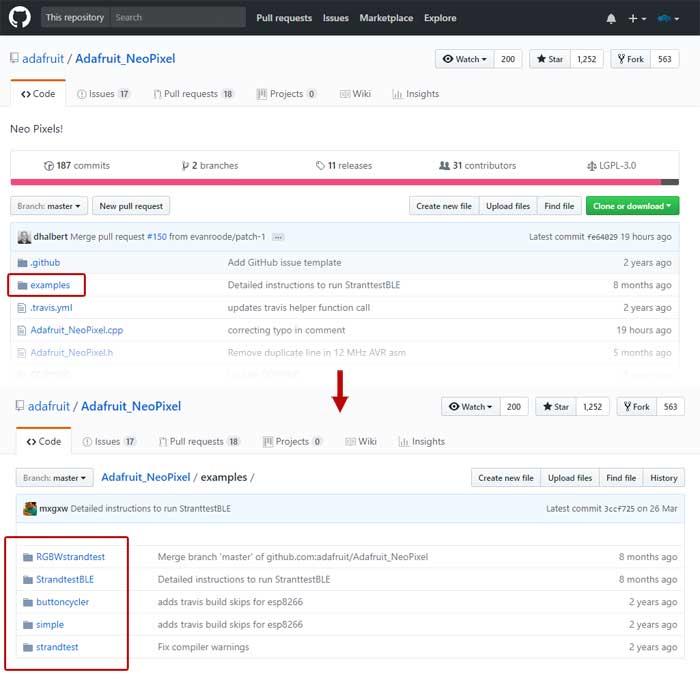 librería de Arduino ejemplos GitHub