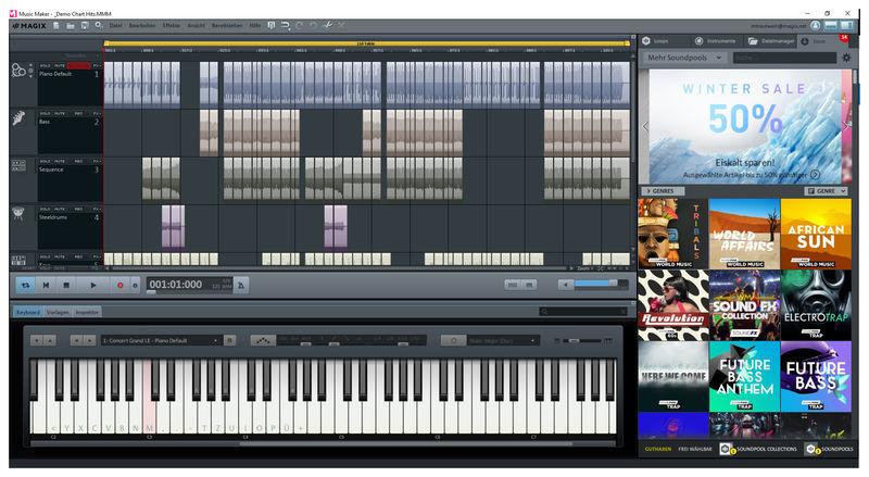 pantalla principal de Magix Music Maker