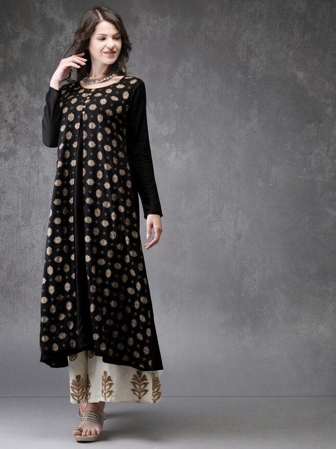 Black and gold-toned printed A-line kurta