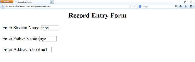 html form how to create student record entry form in html
