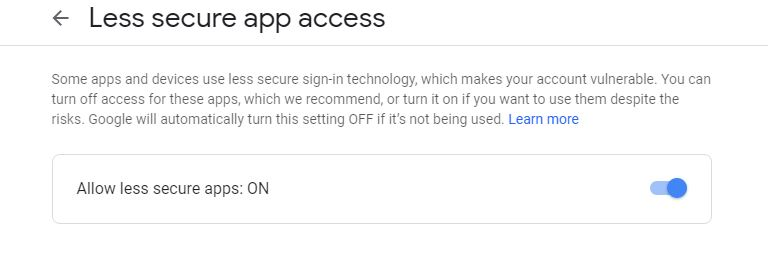 Allow Less Secure App Access - Gmail