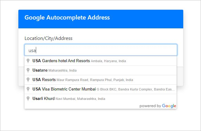Google autocomplete address country restricted