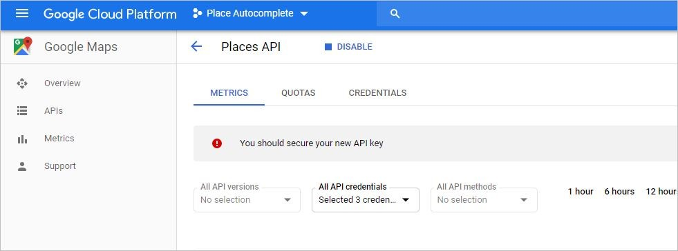 google autocomplete address - create API Key