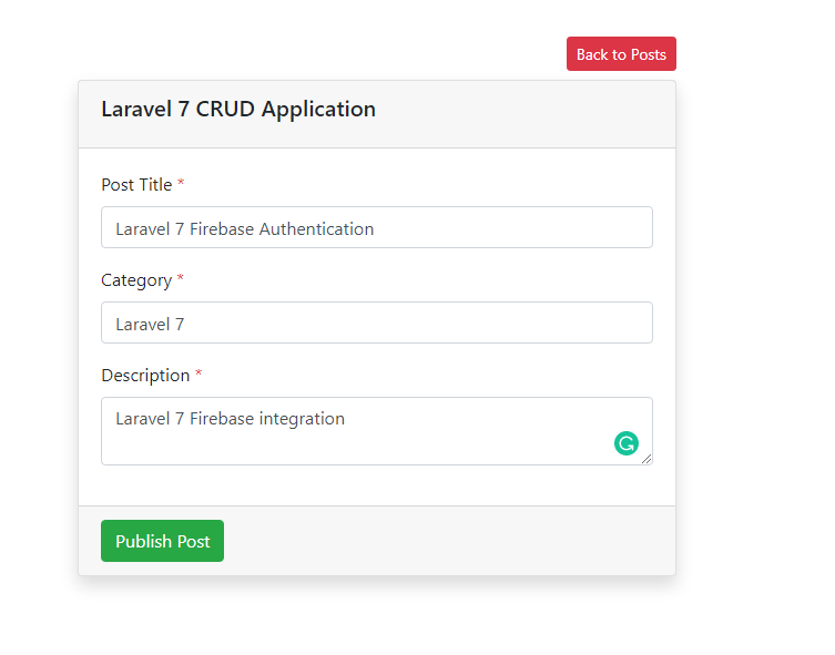 Laravel 7 CRUD - Create New Post