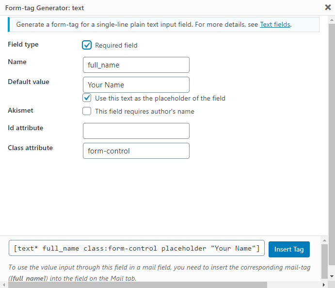 Add Input Fields in Contact Form 7