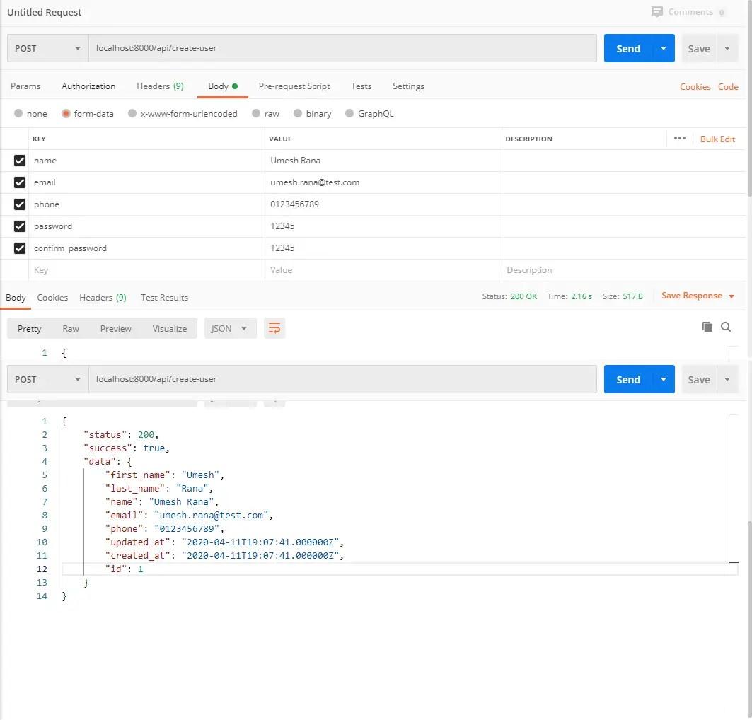 User Sign Up API Response
