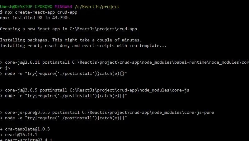 create reactjs crud application
