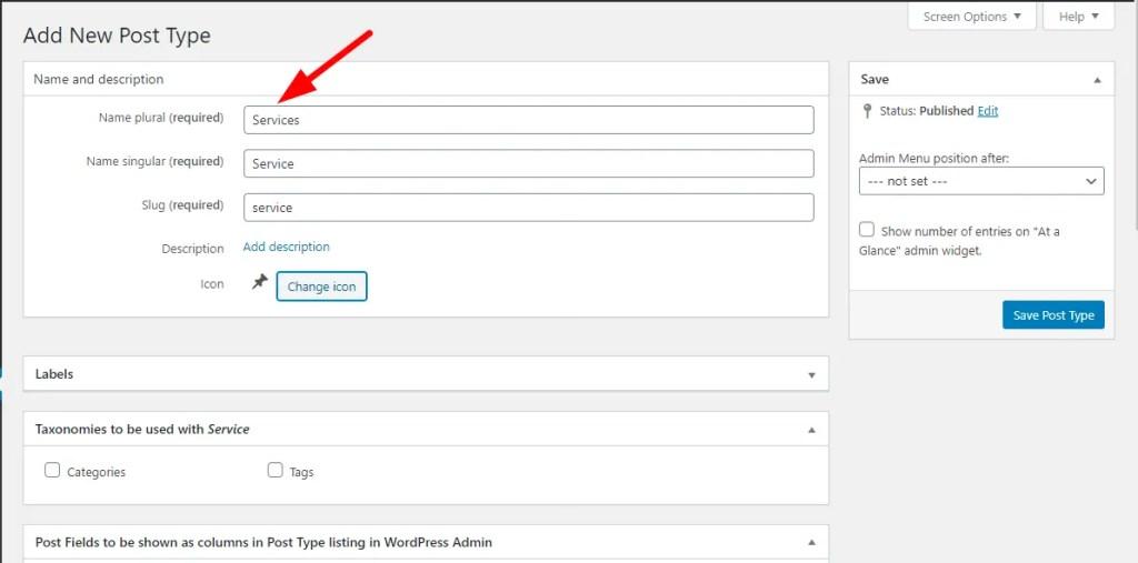 Create post type of service