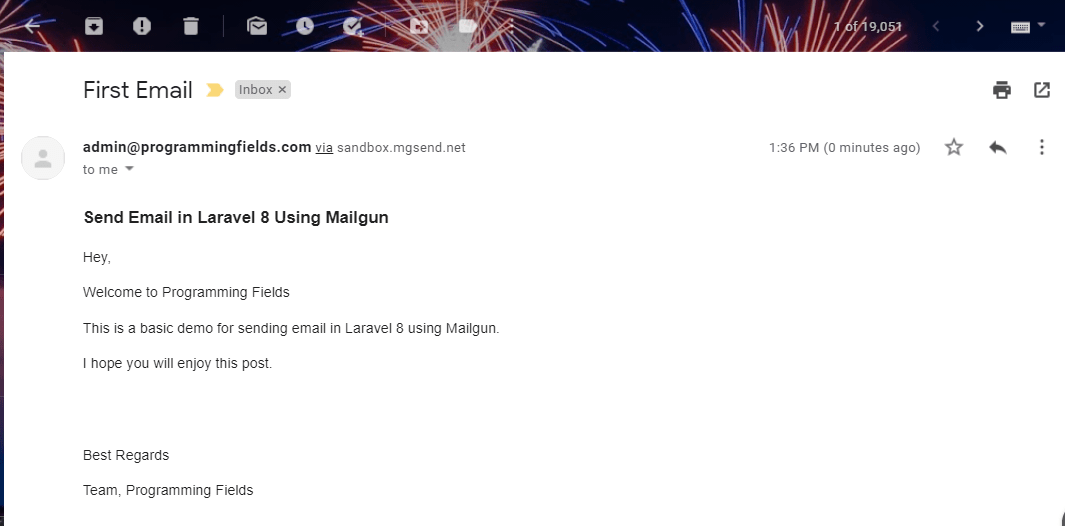 Email received in inbox sent by Mailgun