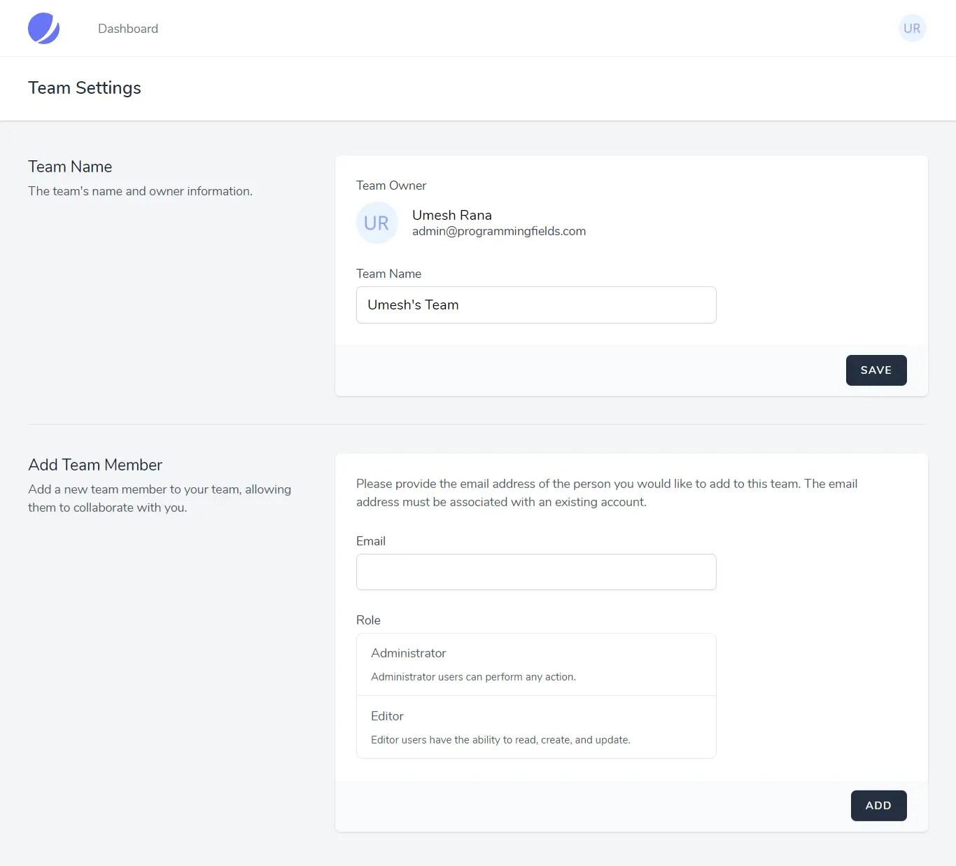 Team member settings