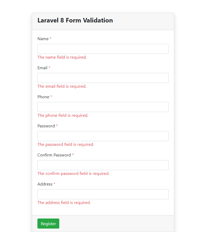 Laravel 8 Form Validation Errors