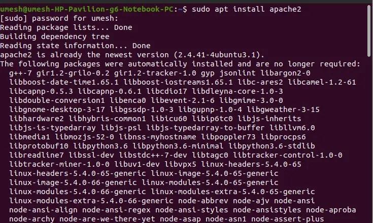 Install Apache in Ubuntu