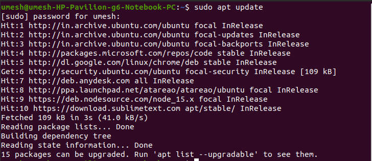 Available Updates in Ubuntu to install vs code
