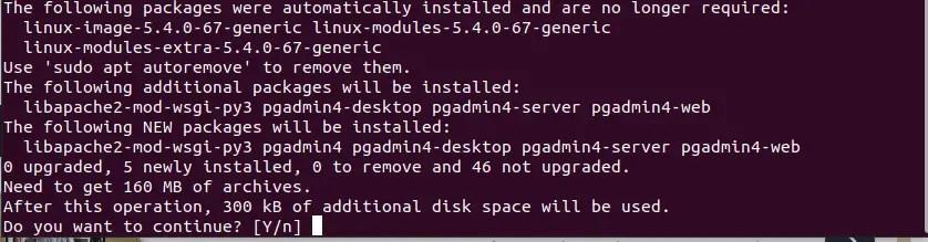 Prompt for pgAdmin Installation