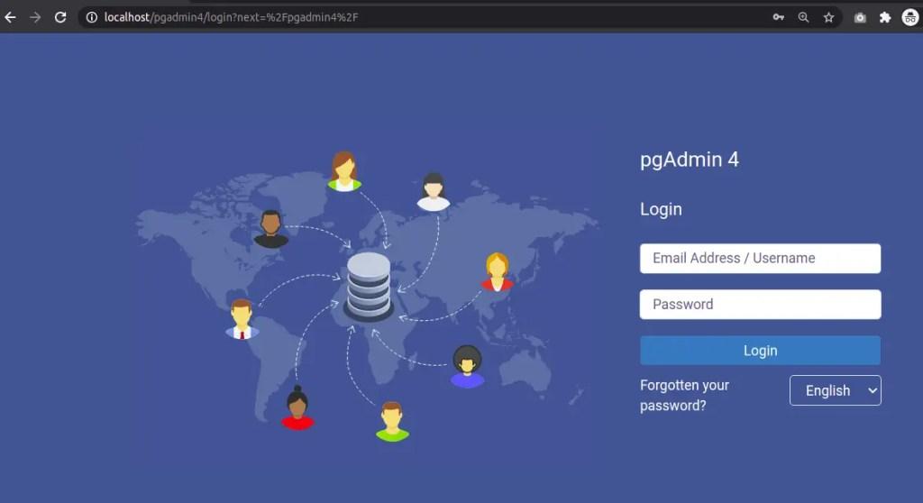 pgAdmin 4 Web Mode - Login Page