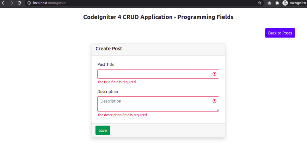 Validation Error Message In CodeIgniter 4 Using Bootstrap 5