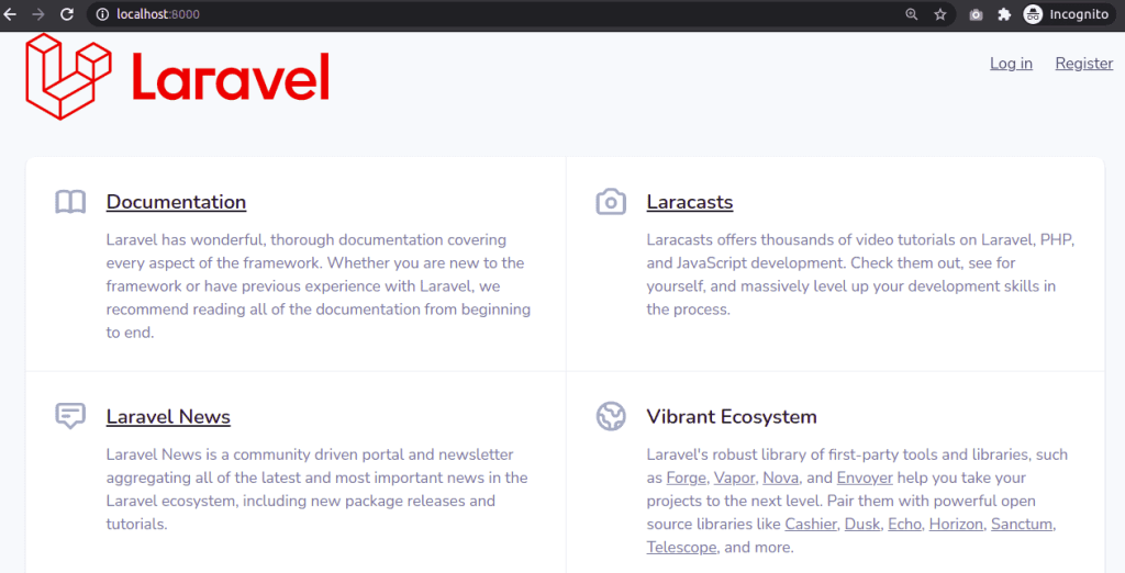 Laravel 8 Homepage with Login and Register