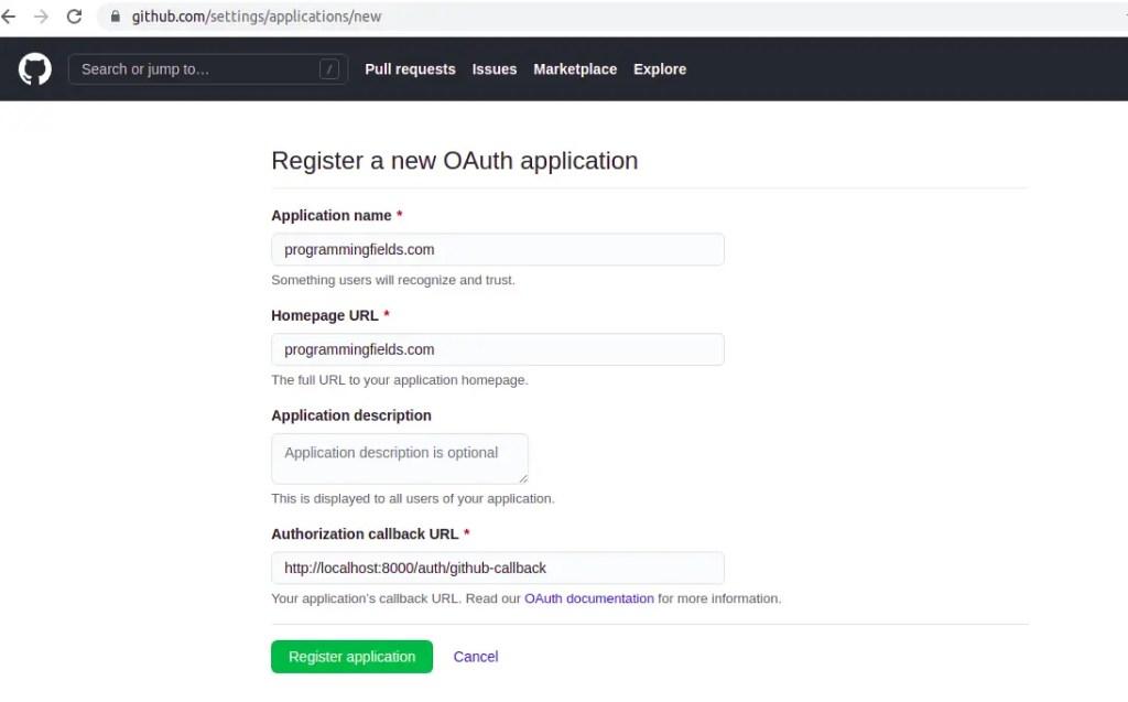 Create App in Github