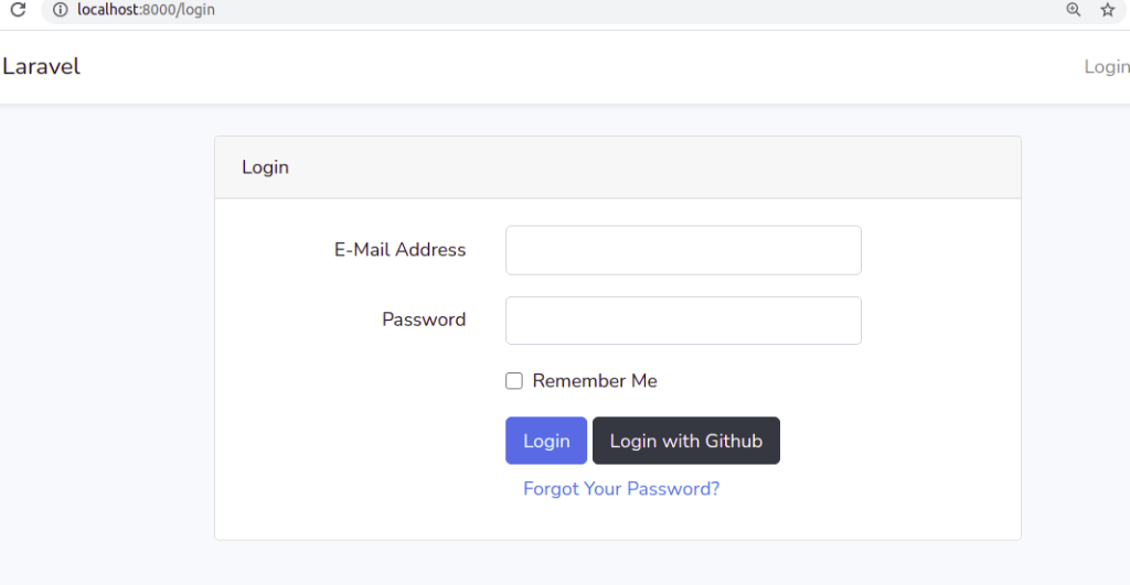 Laravel UI Auth Login page with Github Login