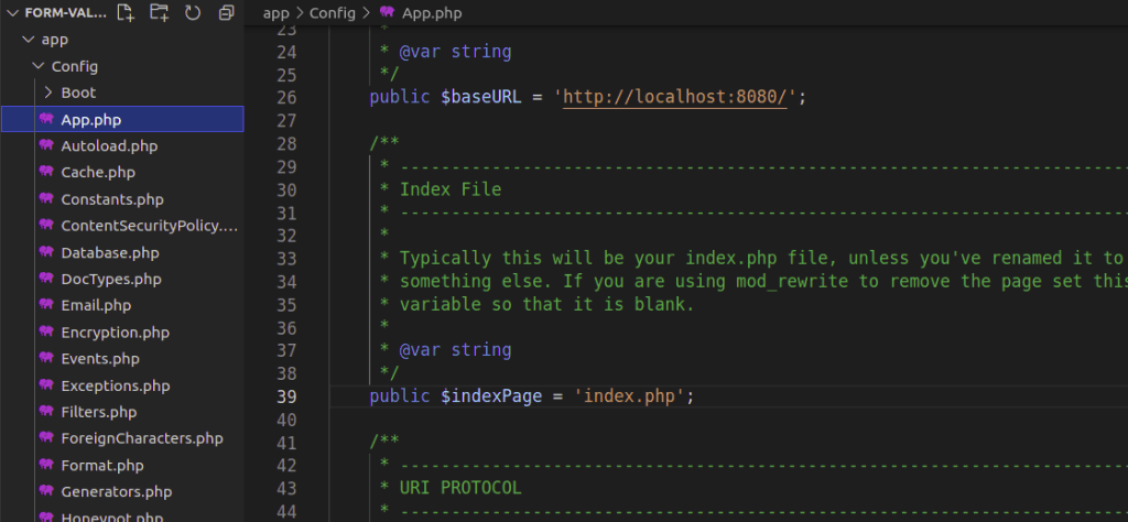 Config/App.php in CodeIgniter 4