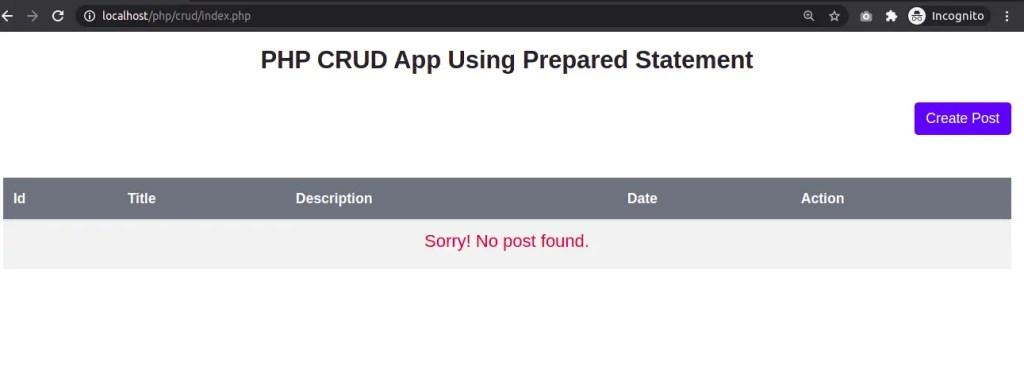 CRUD - index page