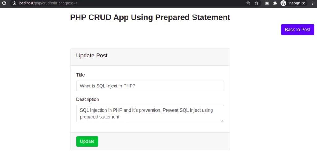Edit Post Using Prepared Statement