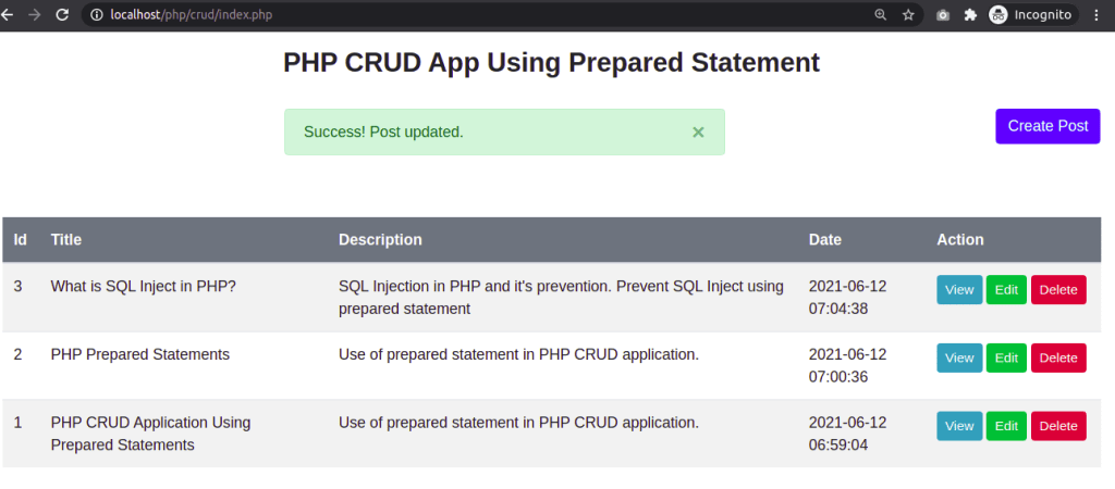 Post Updated Using Prepared Statement in PHP
