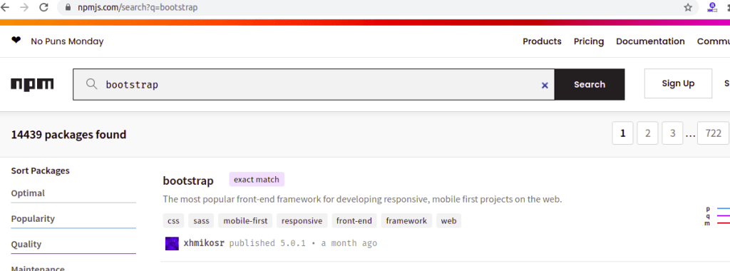 Search Bootstrap Package in npmjs