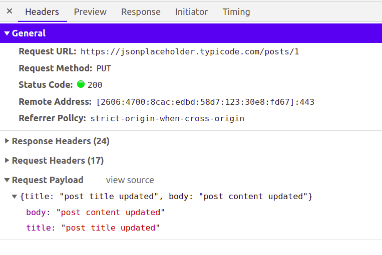 PUT Request in Axios For Updating Post