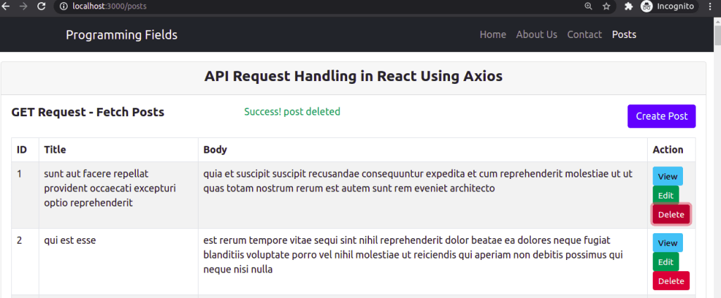 DELETE Request Response in React Using Axios