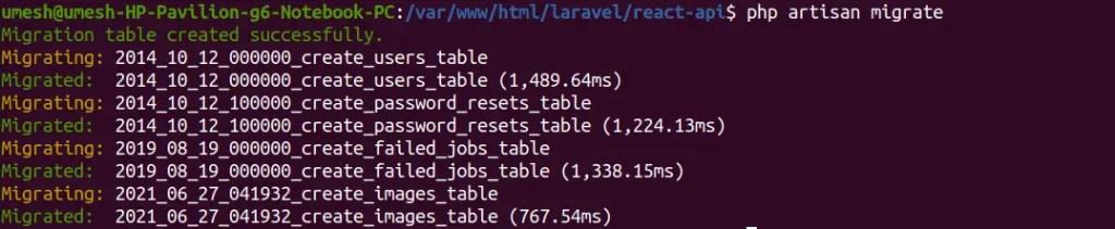 Migrate Tables in Laravel 8