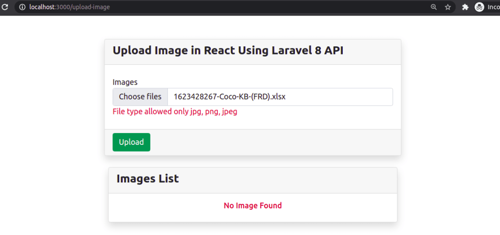 Image Upload Validation at Client Side in React JS
