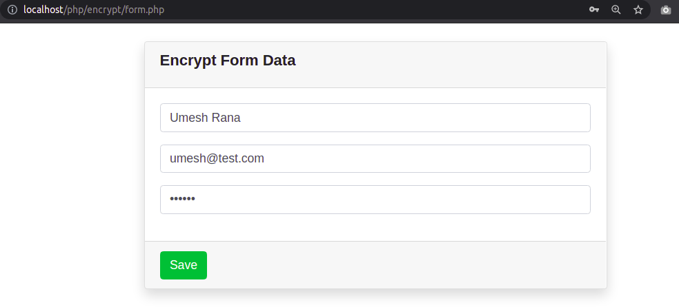 Submit Form Using Ajax for encrypting data