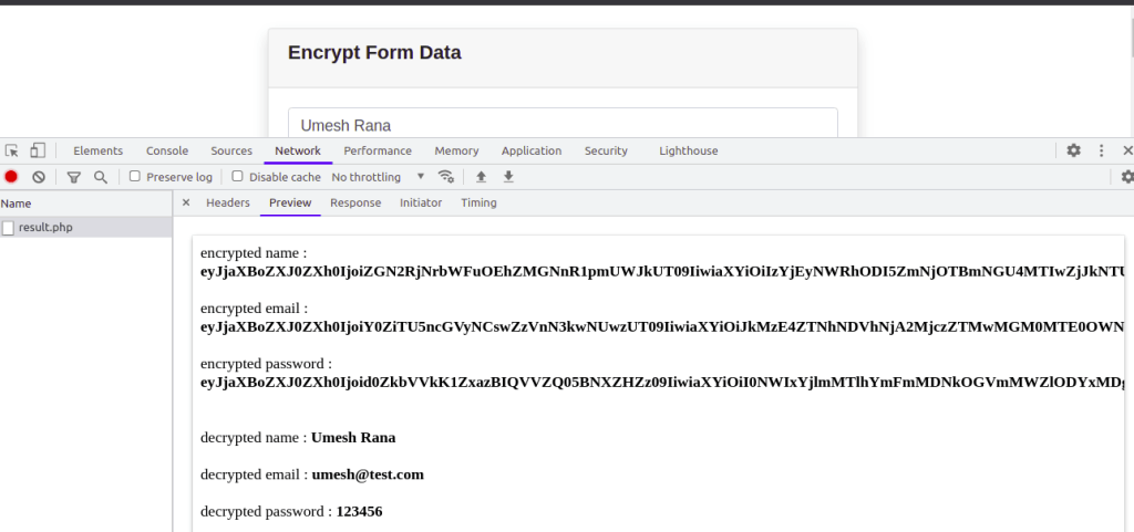 Result of Encrypted and Decrypted Form Data