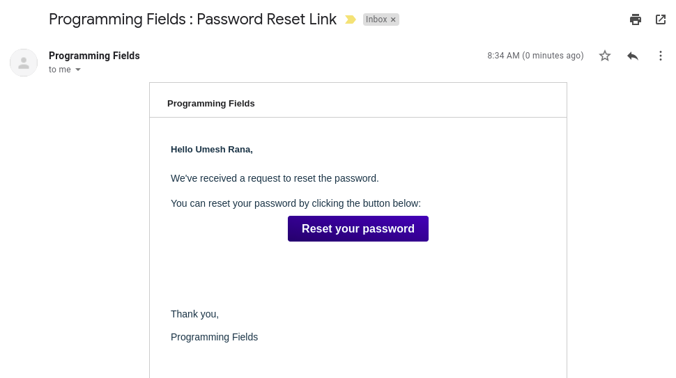 Email with password reset button