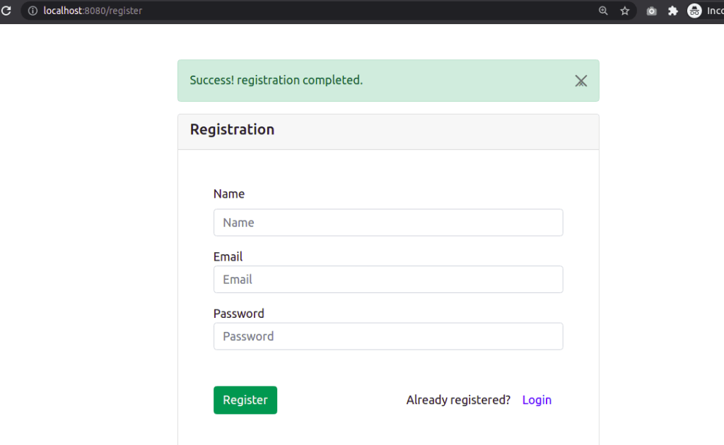 User Registration Success Result
