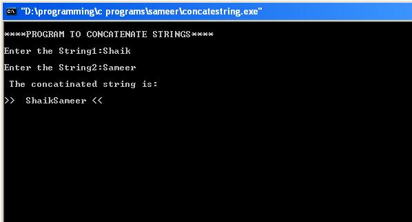 C-Concatenate-String-output