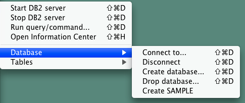 The Database submenu
