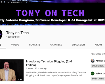 Tony on Tech YouTube channel