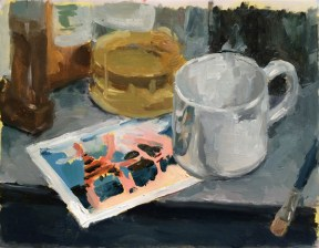 """Cup and Card"", 2015, oil on vellum, 9 x 12"""